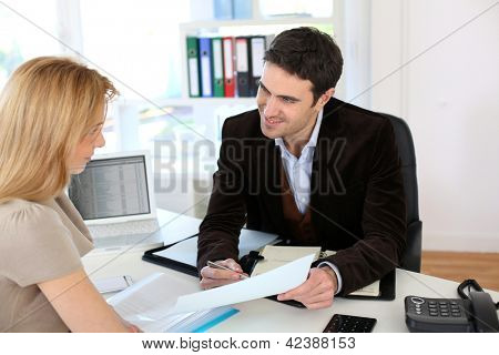 Woman meeting lawyer to set up her own business