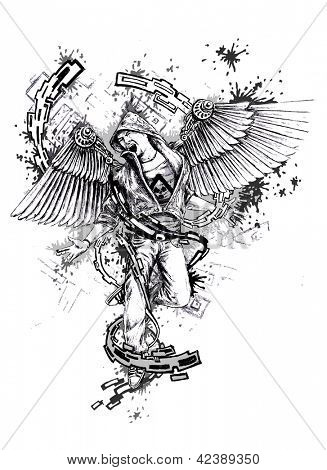 man with wings in chains, urban art - hand-drawn illustration