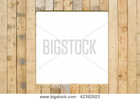 Free space for text in the wall of wooden planks.
