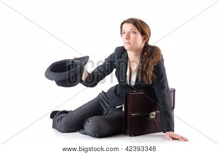Businesswoman begging some money on white