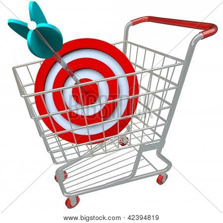 A shopping cart with a red target symbol and an arrow in the bullseye, illustrating a direct hit in targeted marketing and aiming for a niche group of customers