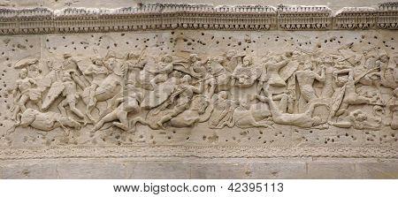 Frieze Sculpture Of Roman Battle Against The Gauls, Arch Of Triumph, Orange, France