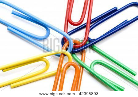 Macro Colored Paper Clips
