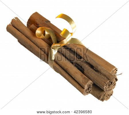 Cinnamon Sticks With Golden Bow