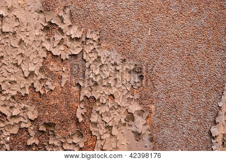 Old Rusty Metal Plate Heavily Aged And Corroded