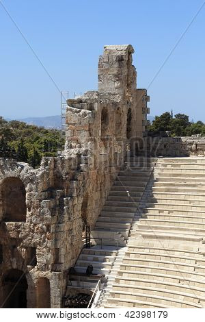 Wall And Seats Of Odeon Of Herodes Atticus