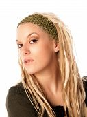 picture of nose ring  - Beautiful Urban Girl with blond dreadlocks - JPG