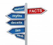 stock photo of attention  - 3d render of directional roadsing of facts vs untruth lies stories myths - JPG