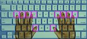 image of backspace  - Hands typing on touch screen keyboard concept - JPG