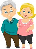 foto of geriatric  - Illustration of Happy Senior Couples - JPG