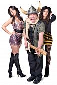 foto of groupies  - Punk rock musician with fans sticking out tongue - JPG