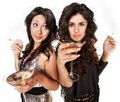 picture of spoiled brat  - Bored young women with martinis and cigarettes - JPG