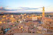Siena Sunset Panoramic Skyline. Mangia Tower Landmark. Tuscany, poster