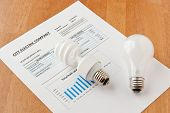 stock photo of economizer  - Energy efficient and incandescent bulbs on electric bill - JPG