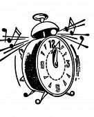 Ringing Alarm Clock - Retro Clipart Illustration