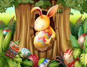 stock photo of rabbit hole  - Illustration of a rabbit inside the hole of a tree surrounded with eggs - JPG