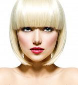 pic of toned  - Fashion Stylish Beauty Portrait with White Short Hair - JPG