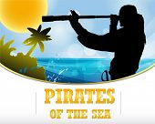 image of pirate flag  - pirates of the sea  - JPG