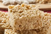 picture of crispy rice  - Homemade Marshmallow Crispy Rice Treat in bar form - JPG