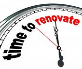 stock photo of reconstruction  - The words Time to Renovate on an ornate white clock - JPG
