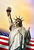 picture of usa flag  - Liberty statue and Usa flag - JPG
