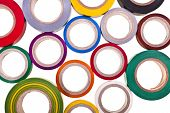 pic of gaffer tape  - colored circles roll of adhesive tape isolated on white background - JPG