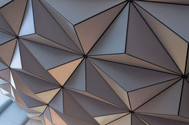 picture of geodesic  - The underside of a geodesic dome highlighting the triangular pattern in its construction - JPG