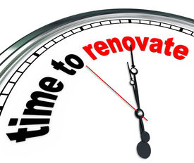 foto of reconstruction  - The words Time to Renovate on an ornate white clock - JPG