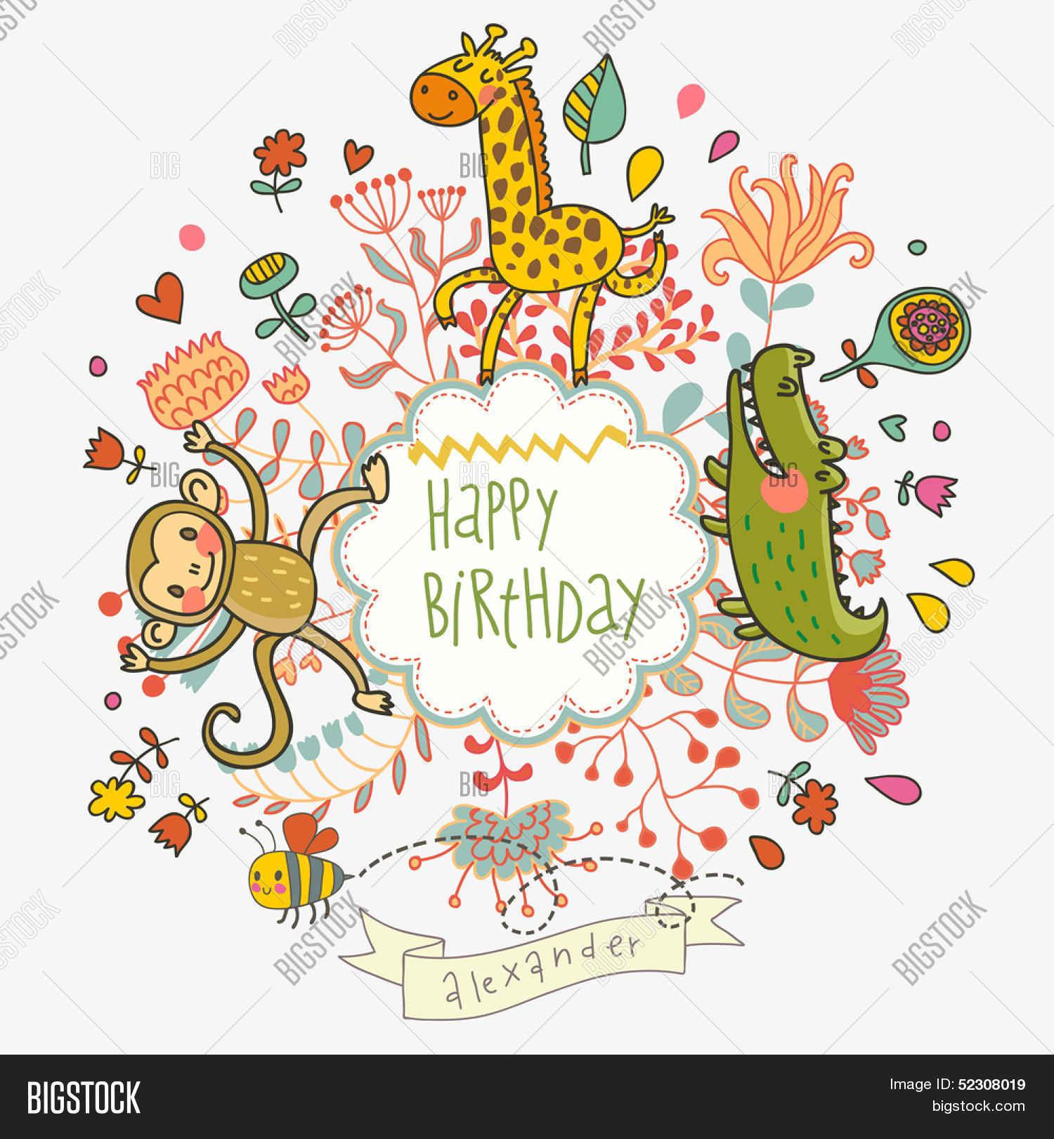 Cute Childish Card Crocodile Vector Photo Bigstock - Birthday invitation background vector
