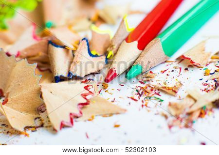 shavings from sharpening and pencils