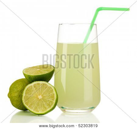 Delicious lemon juice in glass and limes next to it isolated on white