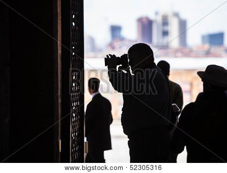 Unidentified Tourist At Mausoleum Of Mustafa Kemal Ataturk