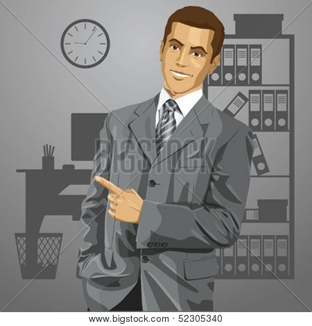 Idea concept. Vector business man show something with his finger. All layers well organized