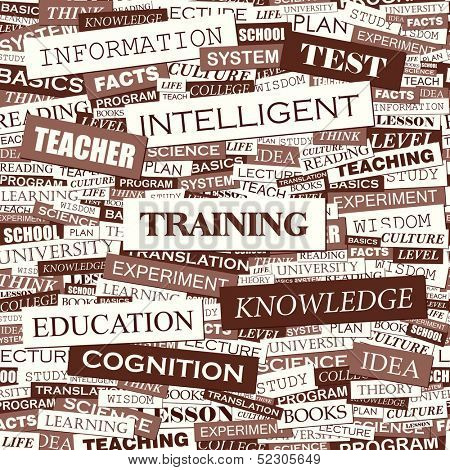 TRAINING. Word cloud illustration. Tag cloud concept collage. Vector text illustration.
