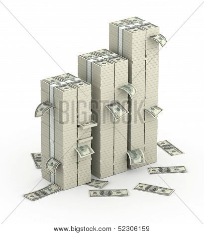 Three columns of dollars money packs