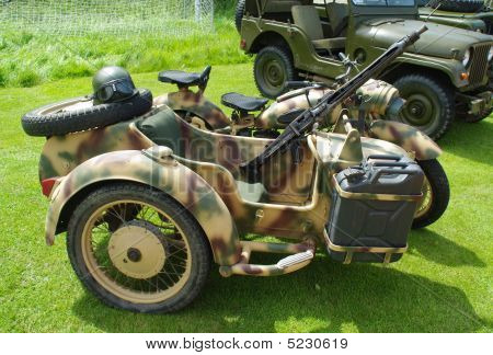 German Ww2 Motorbike And Sidecar