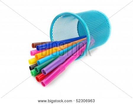 Multi-colored Felt-tip Pens In A Blue Basket In The Supine Position. For Drawing.