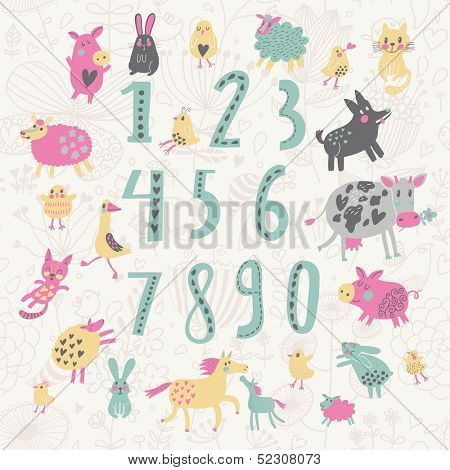 Learn to count concept set. All numbers and funny cartoon animals: cat, dog, cow, horse, rabbit and others in vector