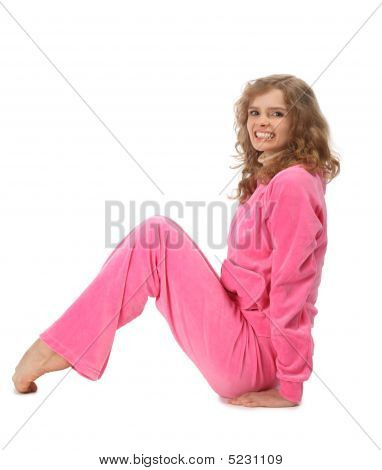 Girl In Pink Clothes Represents  Letter N