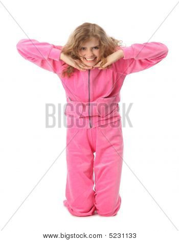 Girl In Pink Clothes Represents  Letter T