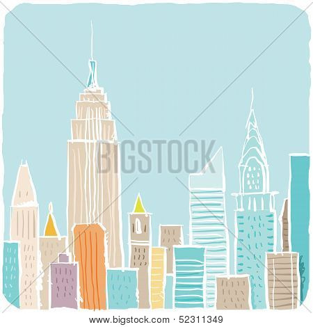 Cartoon New York City Sketch