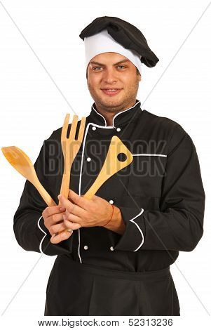 Chef Man With Wooden Utensils