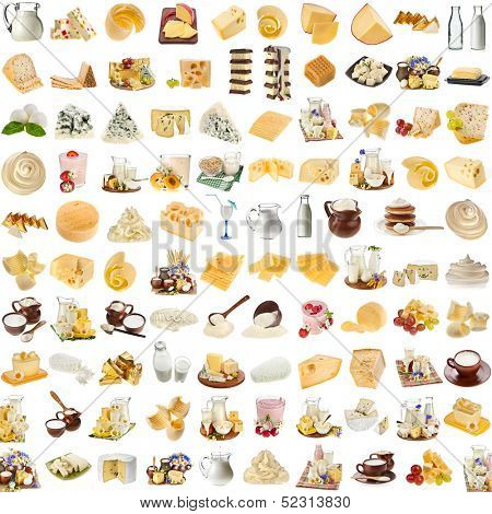 Lots collection set of dairy milk produce, cheese,curd, cottage isolated on white background