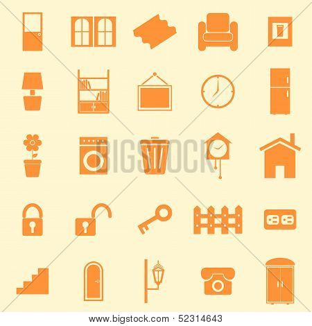 House Related Color Icons On Orange Background