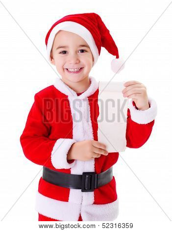Little Santa Claus Boy Showing Wish List