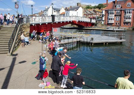 Fishing for crabs in Whitby
