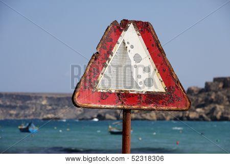Rusty Traffic Warning Sign
