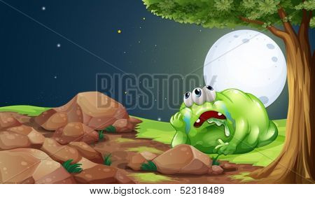 Illustration of a tired monster resting under the tree in the middle of the night