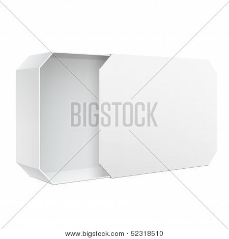 Light Realistic Package Cardboard Sliding Box Opened. For Software, electronic device. Vector Illust