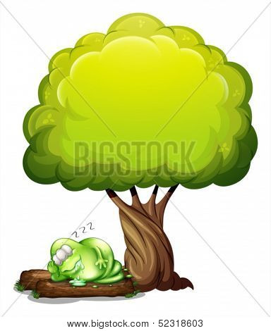 Illustration of a green three-eyed monster sleeping soundly under the tree on a white background